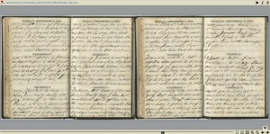 Click image to view Volume 1 of the Emilie Davis Diary in a page-turning viewer.